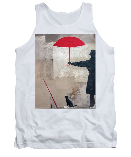 Paris Graffiti Man With Red Umbrella Tank Top