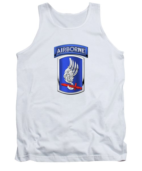 173rd Airborne Brigade Combat Team - 173rd  A B C T  Insignia Over White Leather Tank Top