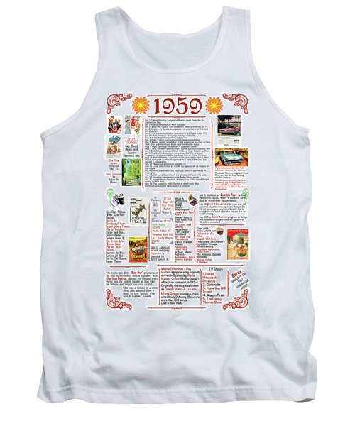1959 Back In Time Historic Poster, Birthday Present Poster Tank Top