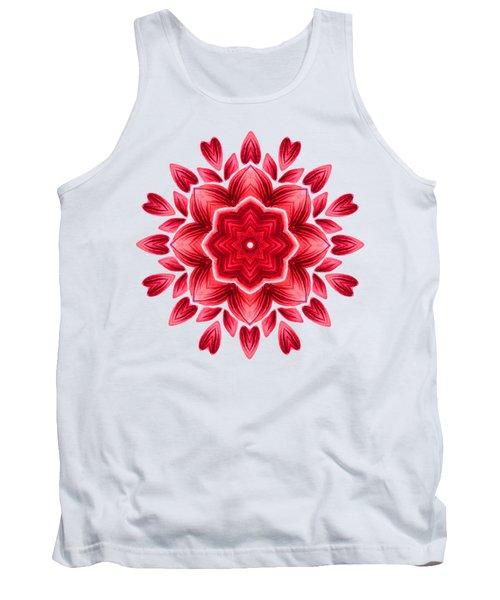 Abstract Watercolor Red Floral Mandala Tank Top