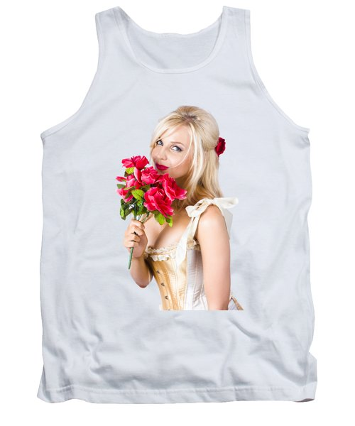 Adorable Florist Woman Smelling Red Flowers Tank Top