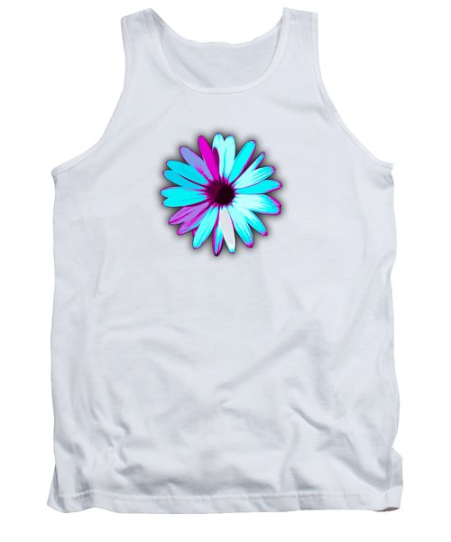 African Daisy Blue Purple And White Tank Top
