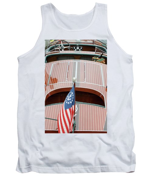 Antique Wooden Boat With Flag 1303 Tank Top