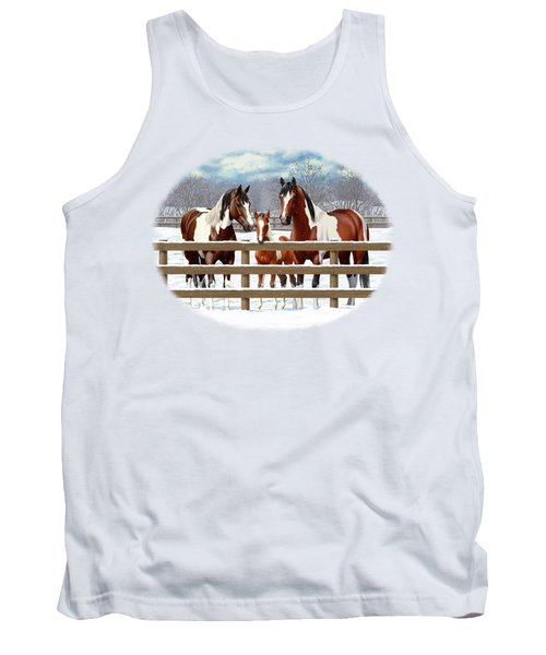 Bay Paint Horses In Snow Tank Top