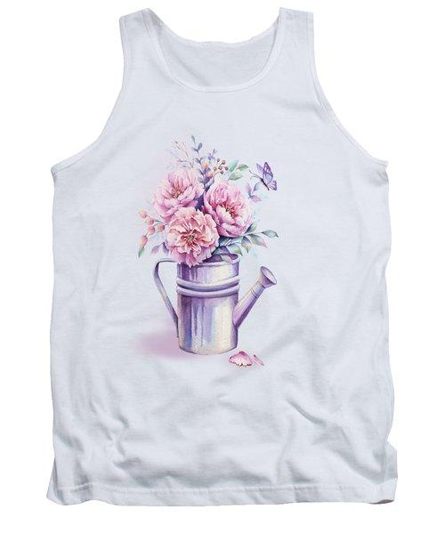 Pink Peonies Blooming Watercolour Tank Top