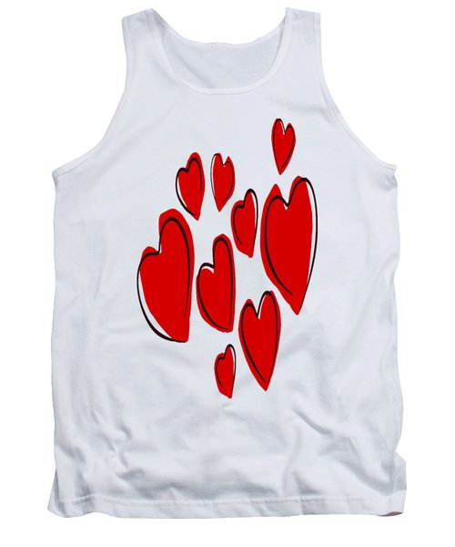 Cute Hearts Random Pattern Tank Top