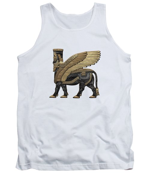 Assyrian Winged Bull - Gold And Black Lamassu Over White Leather Tank Top
