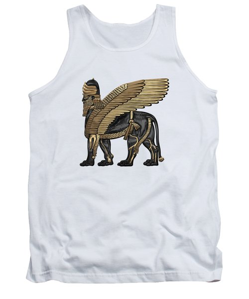 Assyrian Winged Lion - Gold And Black Lamassu Over White Leather Tank Top