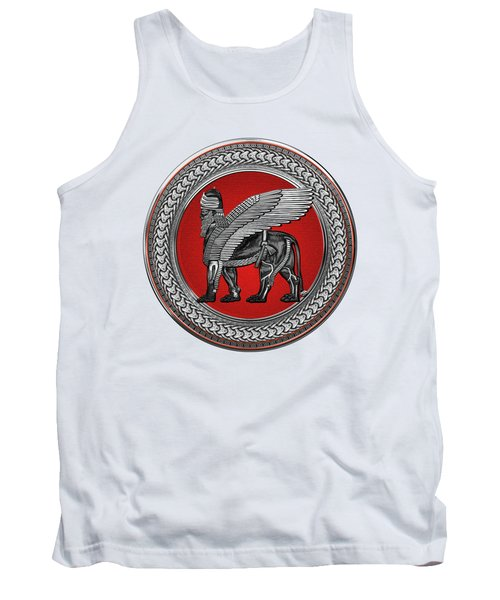 Assyrian Winged Lion - Silver And Black Lamassu On Red And Silver Medallion Over White Leather Tank Top