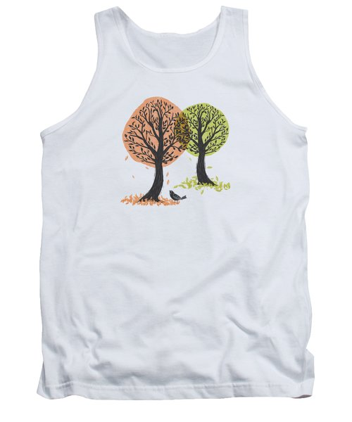 Autumn Is For The Birds Stamped Linocut Tank Top