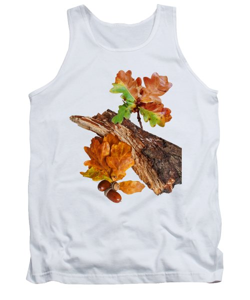 Autumn Oak Leaves And Acorns On White Tank Top