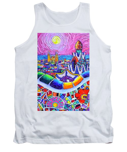 Barcelona Park Guell Colorful Night Textural Impasto Knife Oil Painting Abstract Ana Maria Edulescu Tank Top