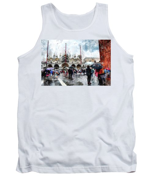 Tank Top featuring the digital art Basilica Of Saint Mark In Venice With Watercolor Look by Eduardo Jose Accorinti