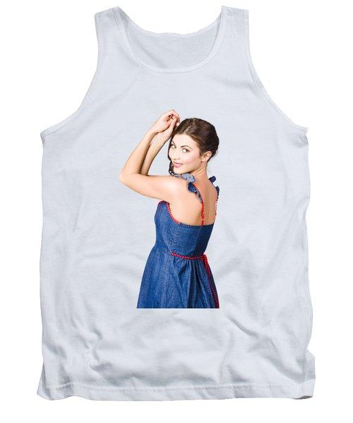 Beautiful Pin Up Woman. Rockabilly Retro Fashion Tank Top