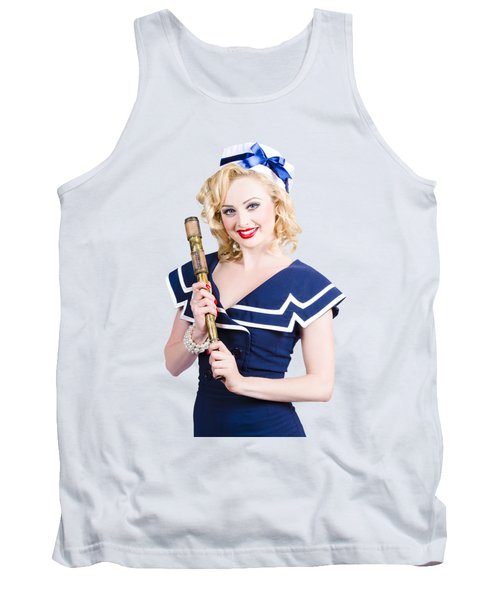 Beautiful Woman With A Telescope Tank Top