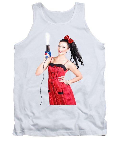 Beauty Style Portrait Of A Elegant Hairdryer Woman Tank Top