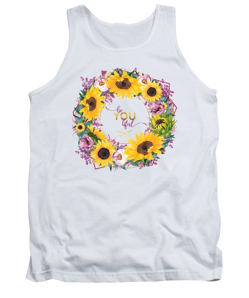 beYOUtiful floral wreath typography art Tank Top