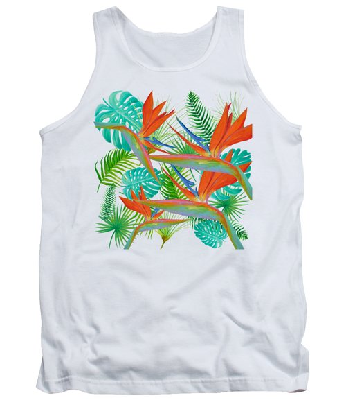 Bird Of Paradise Flower And Tropical Leaves And Ferns Tank Top