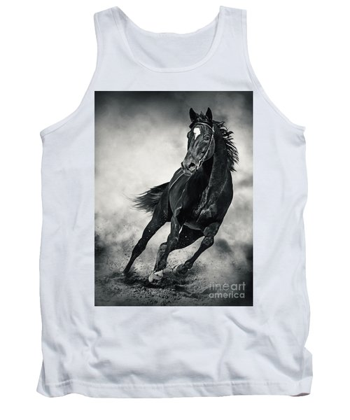 Tank Top featuring the photograph Black Horse Running Wild Black And White by Dimitar Hristov