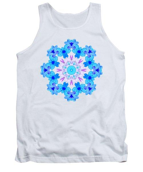 Blue Flowers Watercolor Mandala Tank Top