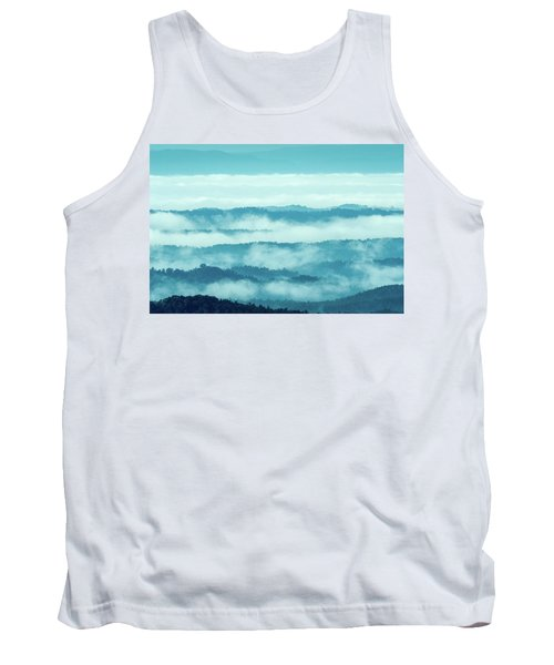 Blue Ridge Mountains Layers Upon Layers In Fog Tank Top