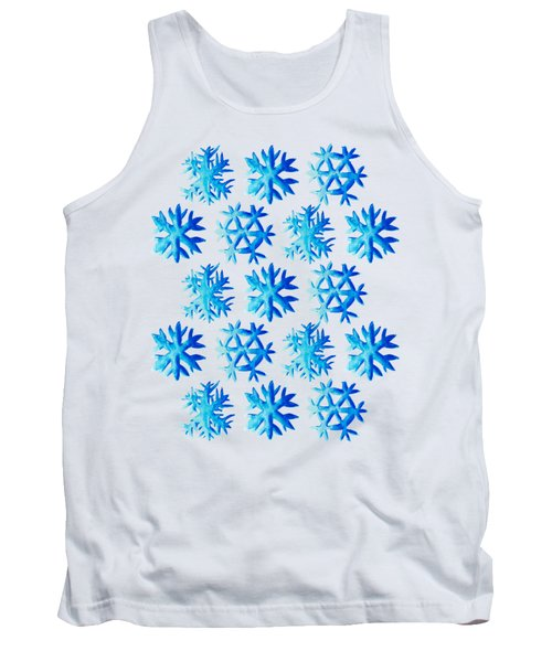 Blue Watercolor Snowflakes Pattern Tank Top