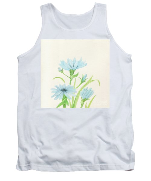 Blue Wildflowers Watercolor Tank Top