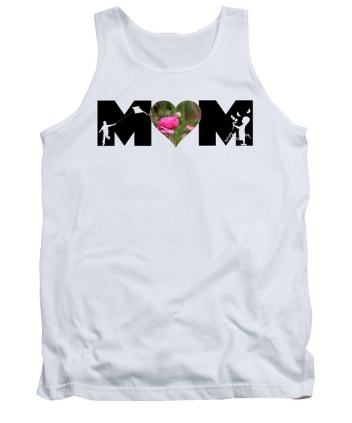 Boy And Girl-pink Ranunculus In Heart Mom Big Letter Tank Top