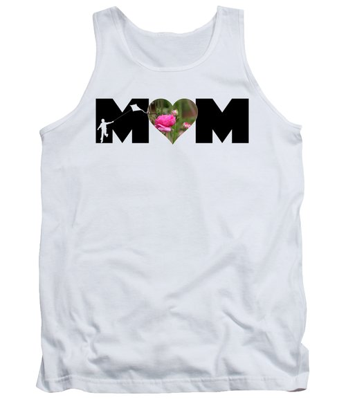 Boy Silhouette And Pink Ranunculus In Heart Mom Big Letter Tank Top