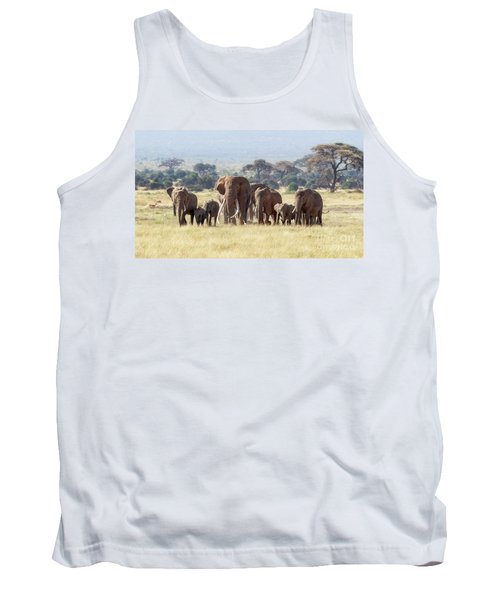 Bull Elephant With A Herd Of Females And Babies In Amboseli, Kenya Tank Top