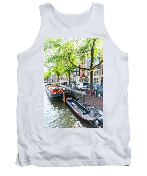 Canal Boats In Amsterdam Tank Top