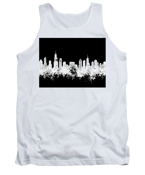 Chicago Skyline Black And White 2 Tank Top
