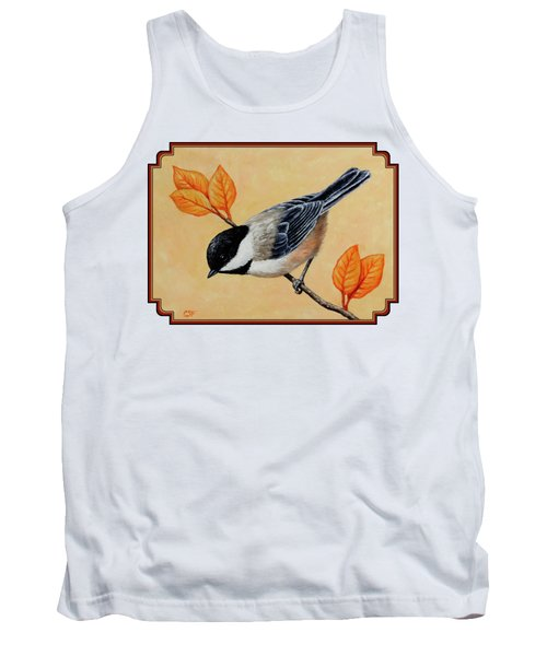 Chickadee And Autumn Leaves Tank Top