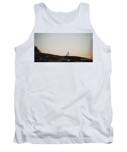 Church On Top Of A Hill And Under A Mountain, With The Moon In The Background. Tank Top