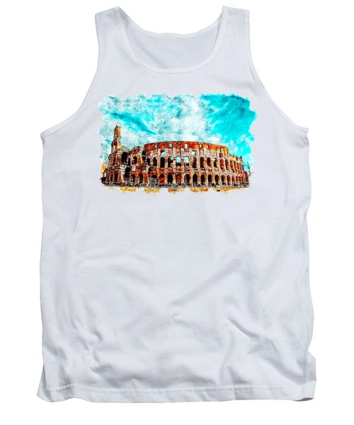 Cityscape Watercolor Drawing - Amphitheater Ancient Arches Tank Top