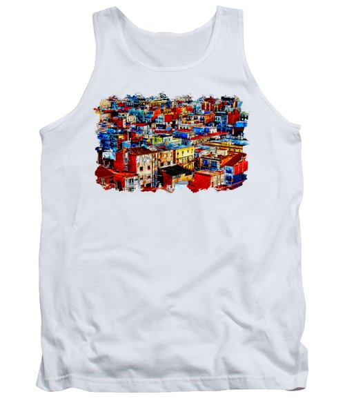 Cityscape Watercolor Drawing  - City Homes  Tank Top