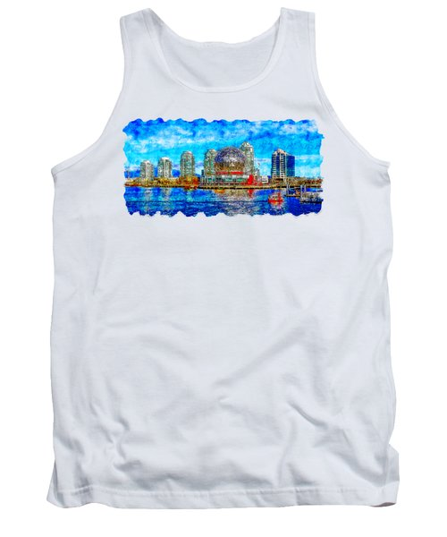 Cityscape Watercolor Drawing - Vancouver Tank Top