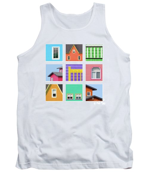 Collage Of Details Of The Colourful Houses Of The Magdalen Islan Tank Top