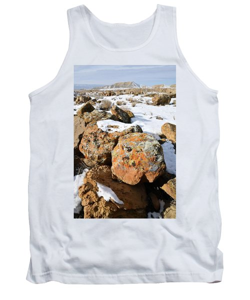 Colorful Lichen Covered Boulders In Book Cliffs Tank Top