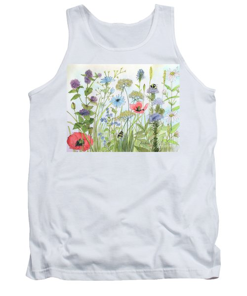 Cottage Garden Flowers Bees Nature Art  Tank Top