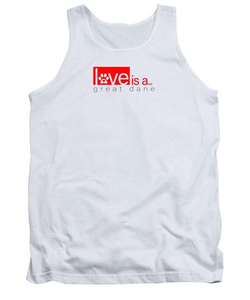 Dog Paw Print Design Love Is A Great Dane Tank Top