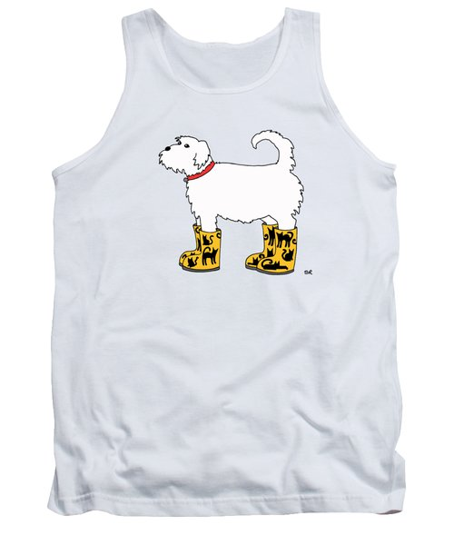 Dog With Cat Boots Tank Top