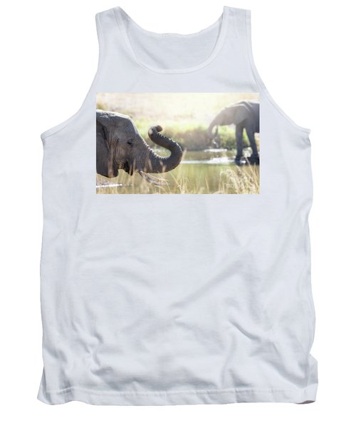 Elephants At A Watering Hole Tank Top