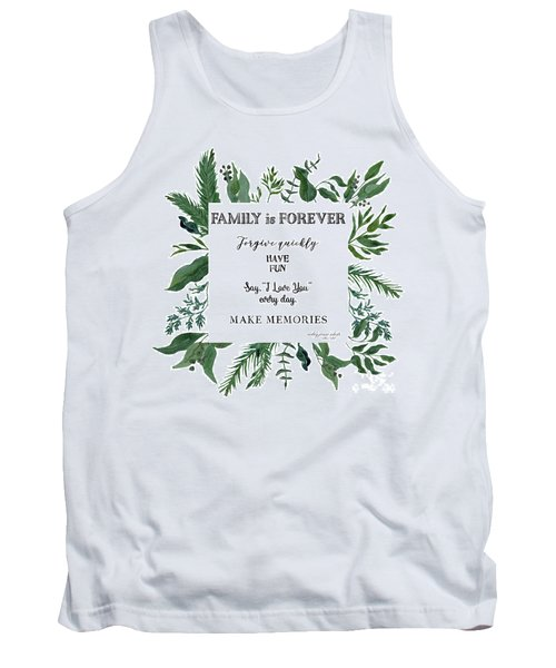 Emerald Wild Forest Foliage 3 Watercolor Tank Top