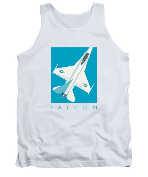 F-16 Falcon Fighter Jet Aircraft - Cyan Tank Top