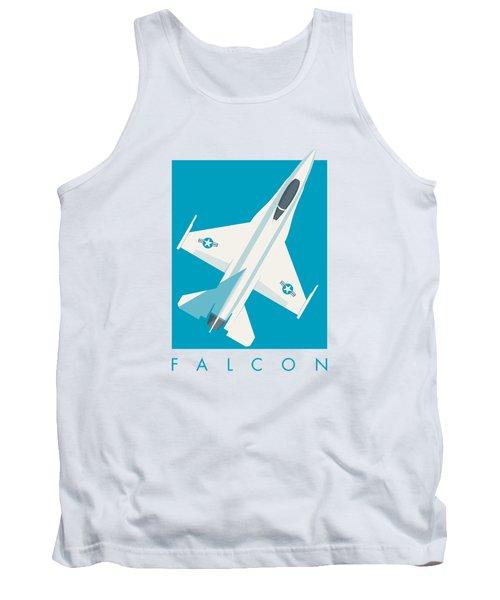F-16 Falcon Fighter Jet Aircraft - Cyan Tank Top