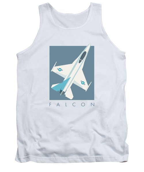 F-16 Falcon Fighter Jet Aircraft - Slate Tank Top