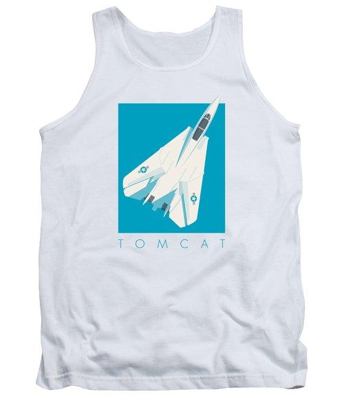 F14 Tomcat Fighter Jet Aircraft - Cyan Tank Top