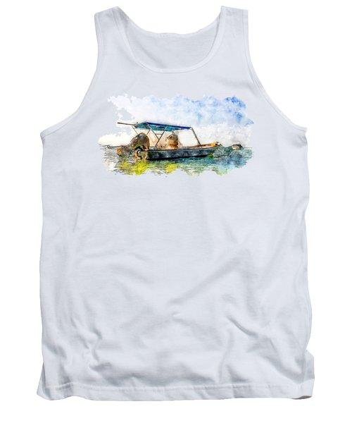 Fisherman's Boat In The Sea Watercolor Tank Top
