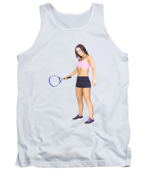 Fit Active Female Sports Person Playing Tennis Tank Top